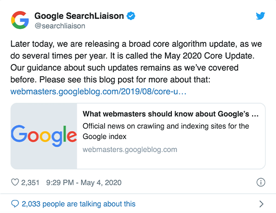 google search liaison about may google update